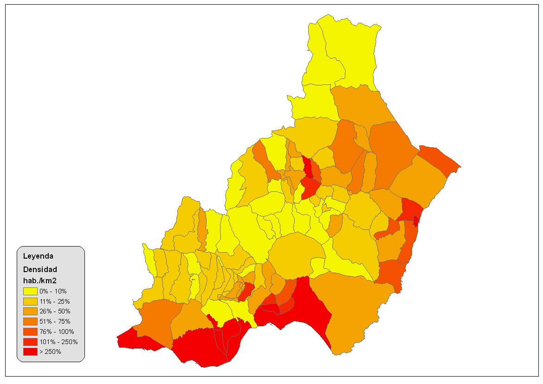 Densidad de población en la provincia de Almería 2008