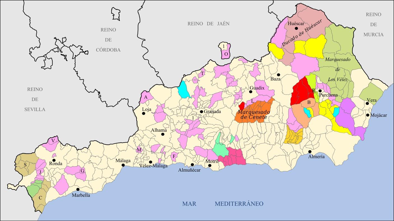 Señoríos del Reino de Granada pertenecientes a la actual provincia de Cádiz 1833