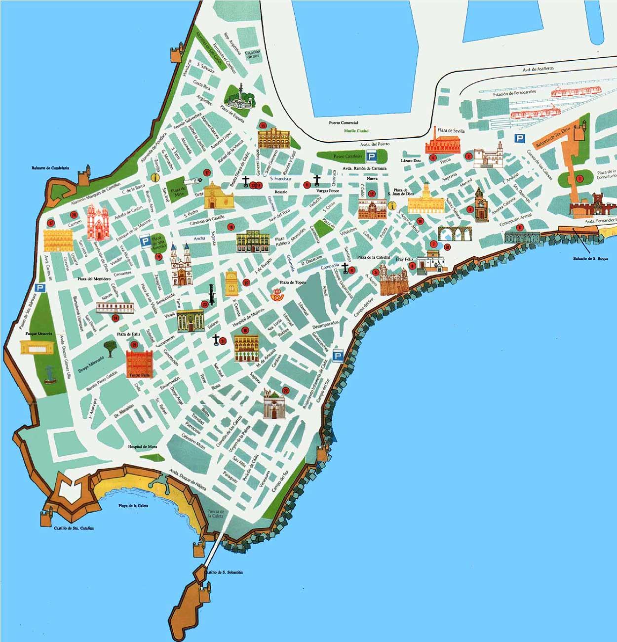 Cadiz city tourist map
