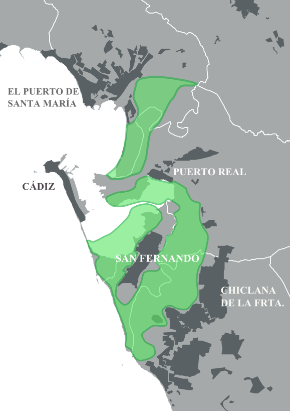 Limites del Parque Natural de la Bahía de Cádiz 2009
