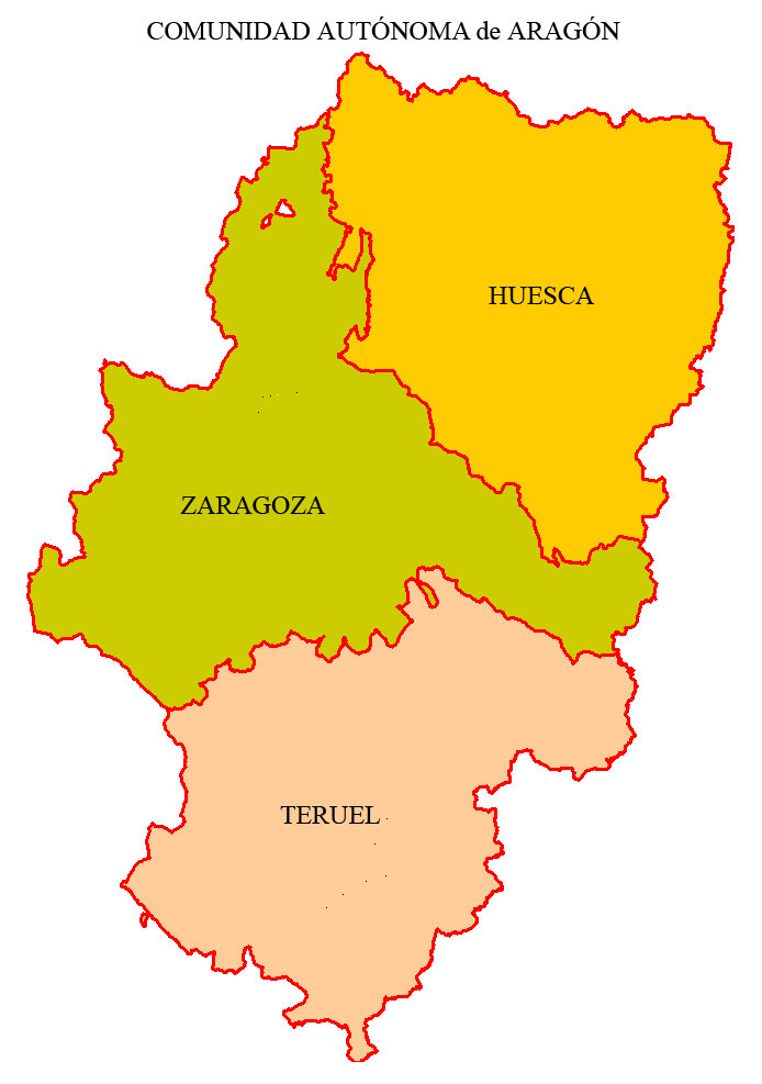 The provinces of Aragon