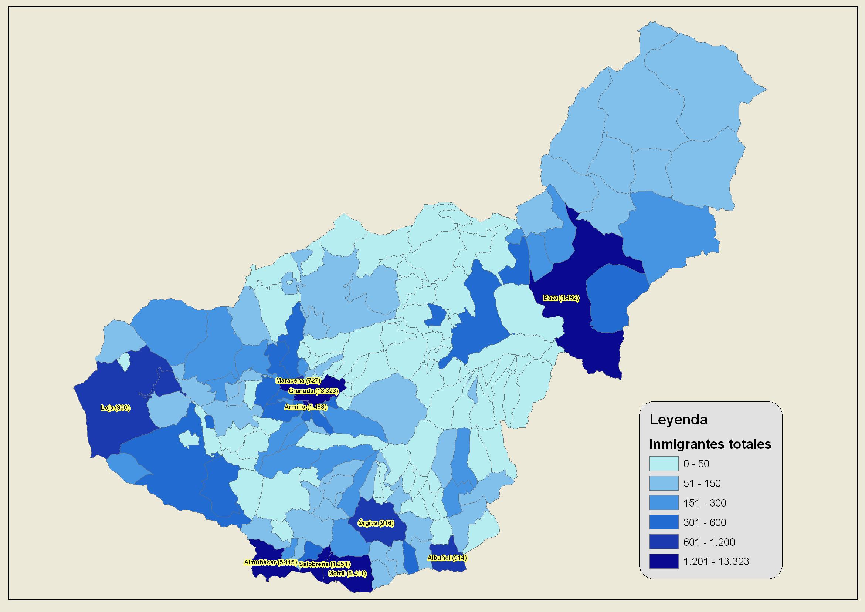 Inmigrantes en la Provincia de Granada 2007