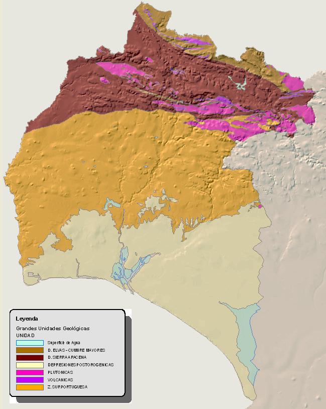 Mapa geológico de la provincia de Huelva 2008
