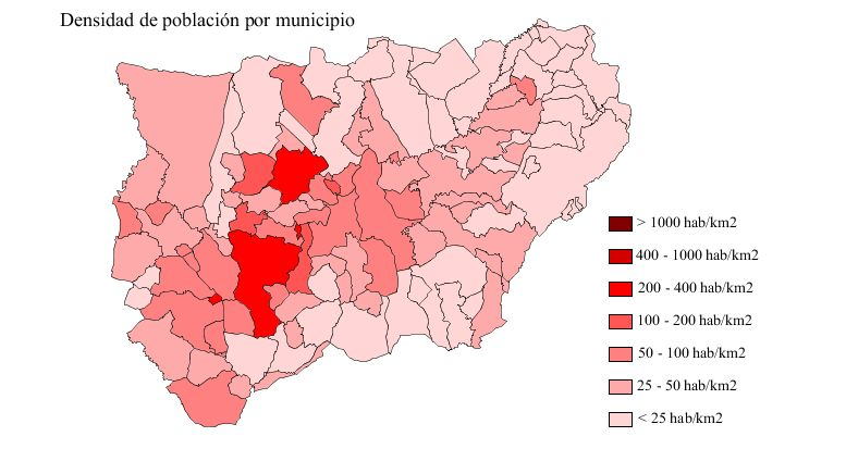 Population density of the province of Jaén 2007