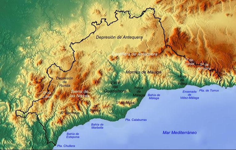 Province of Málaga physical map