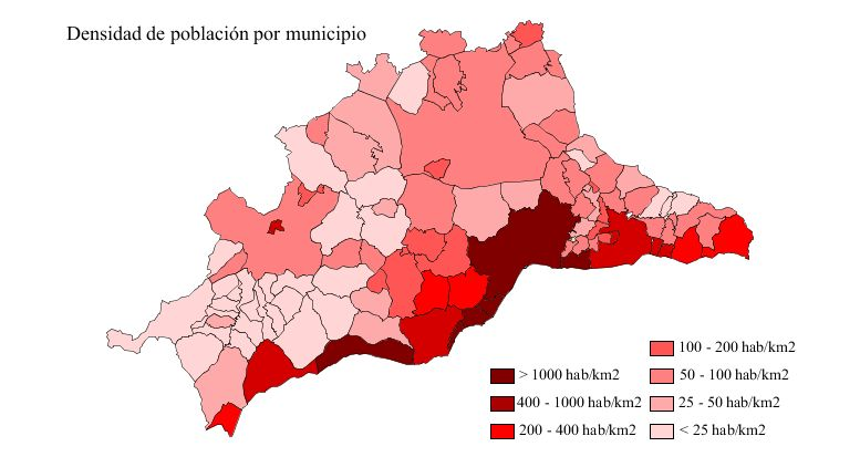 Population density of the province of Málaga 2007