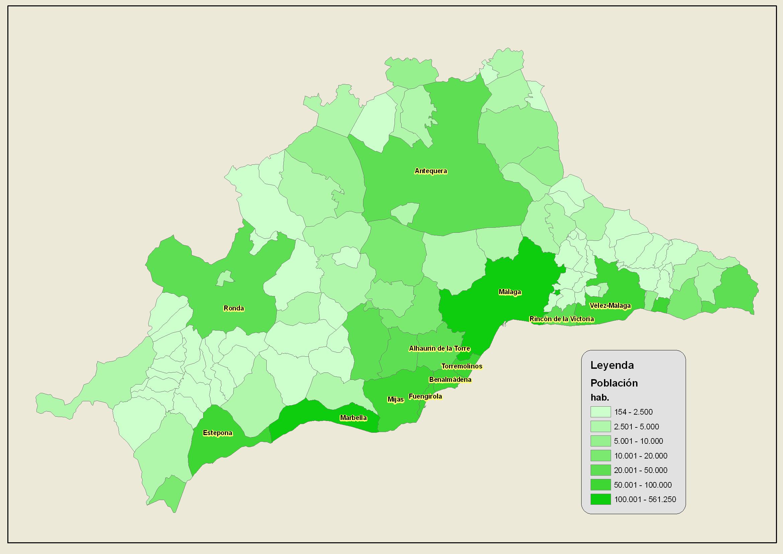 Población de la provincia de Málaga 2007