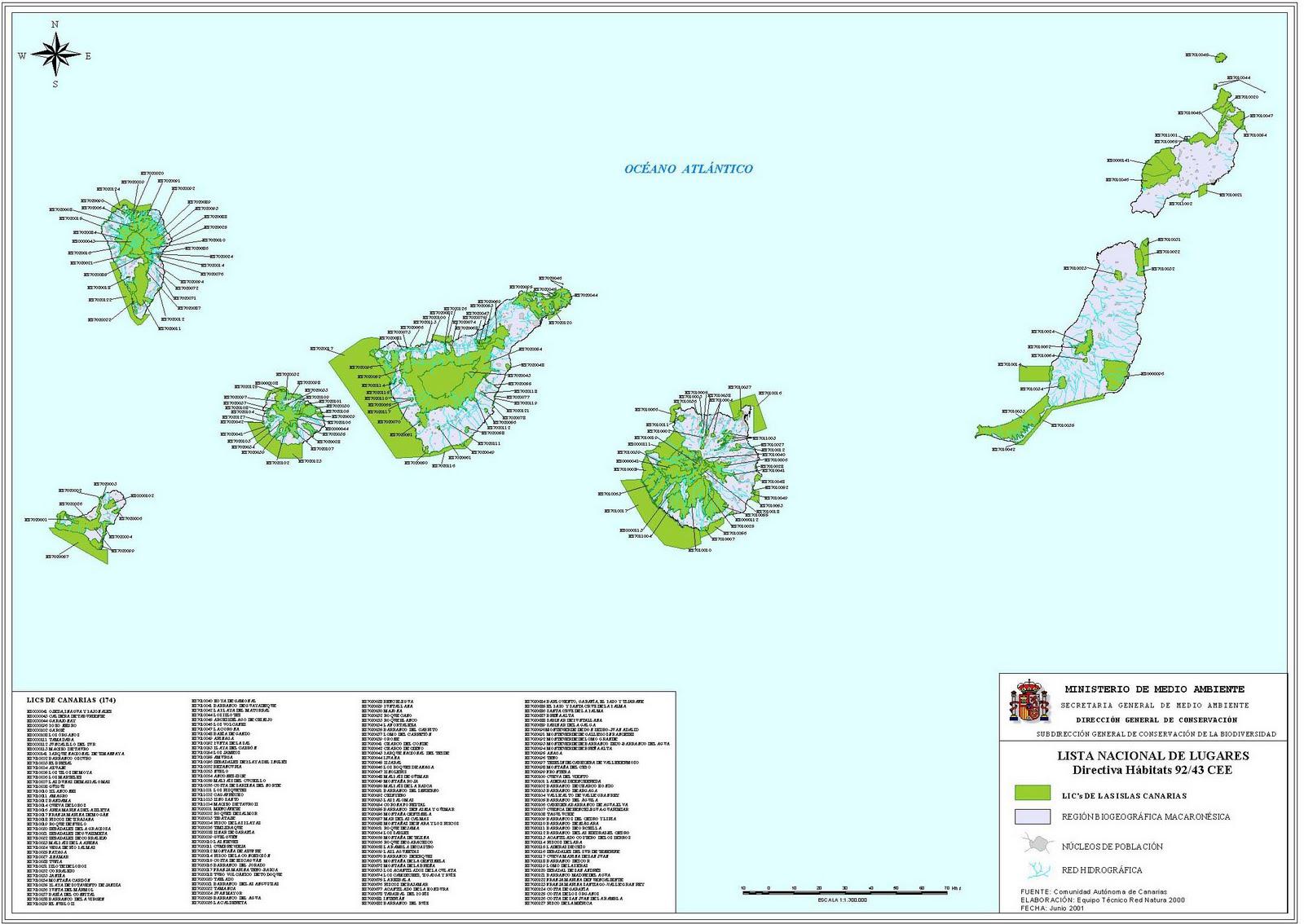 Lugares de Importancia Comunitaria en las Islas Canarias 2001