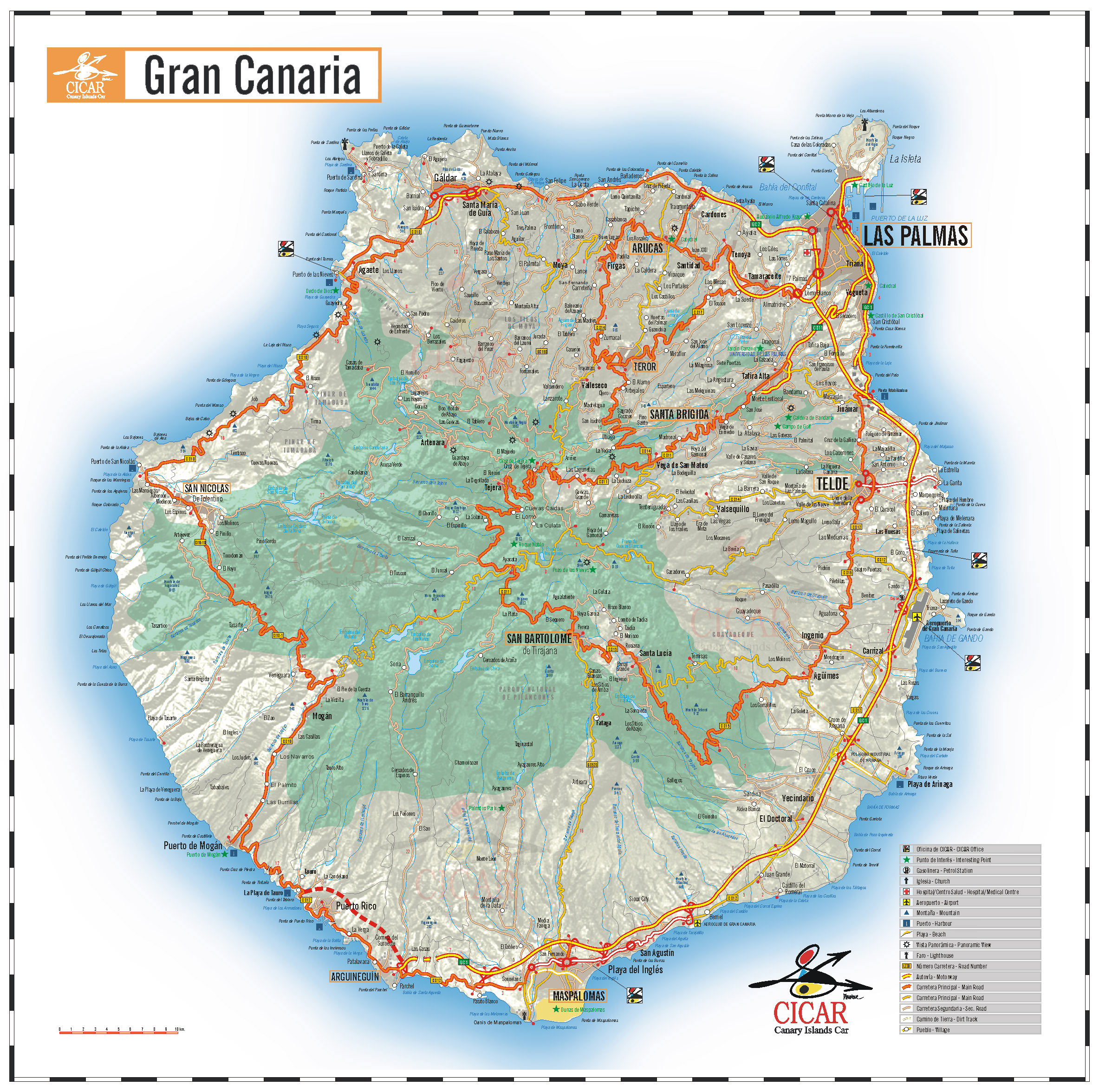 Gran Canaria Island road map