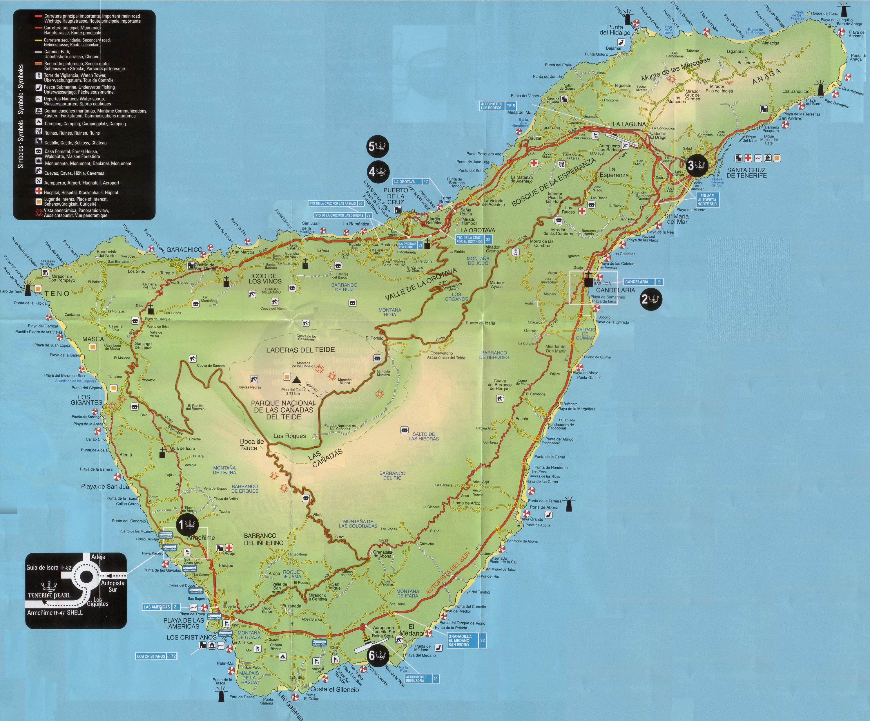 Mapa De Tenerife Sur.Maps Of Tenerife Island Tourist Map Mapa Owje Com