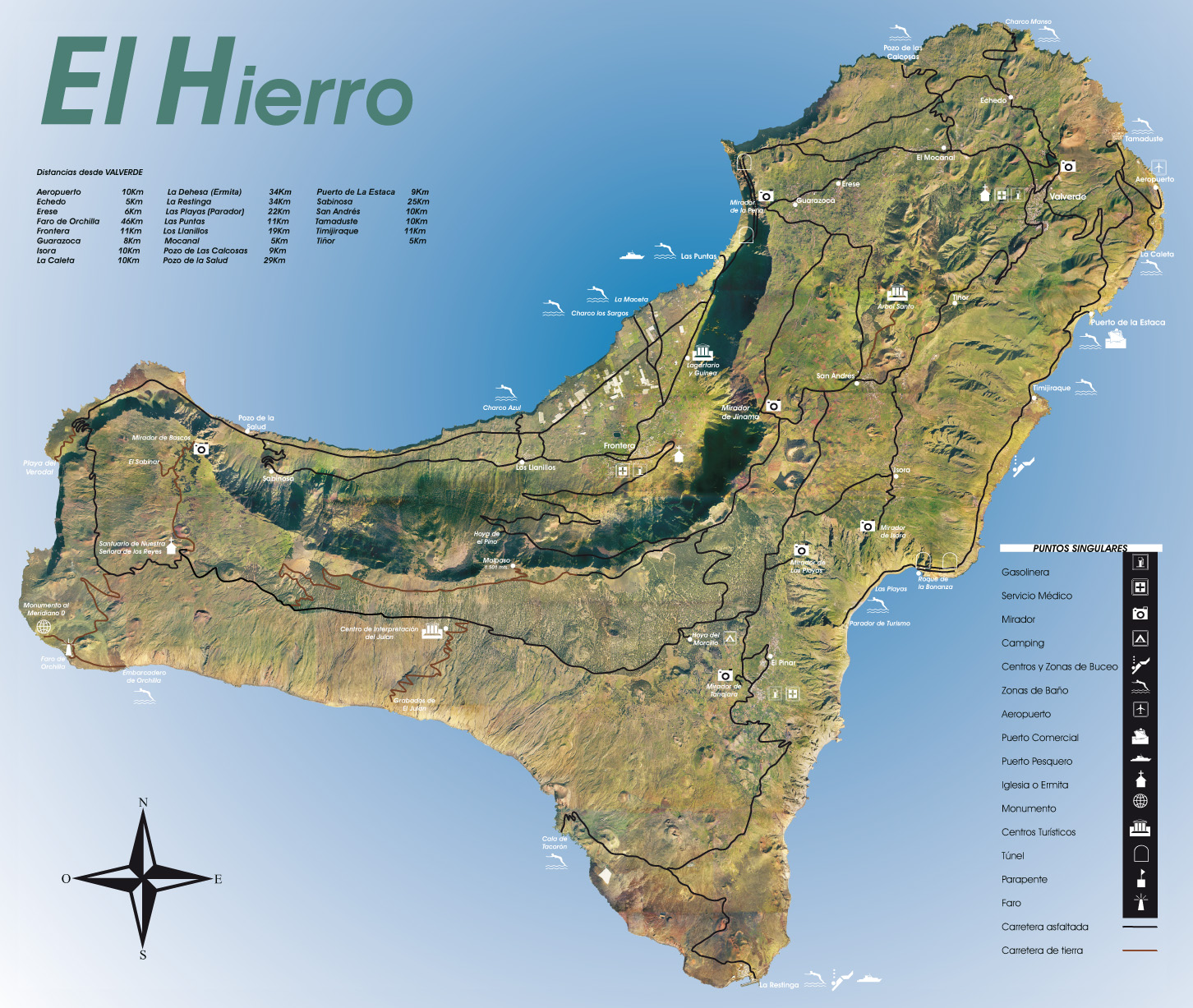 El Hierro Island physical-touristic map