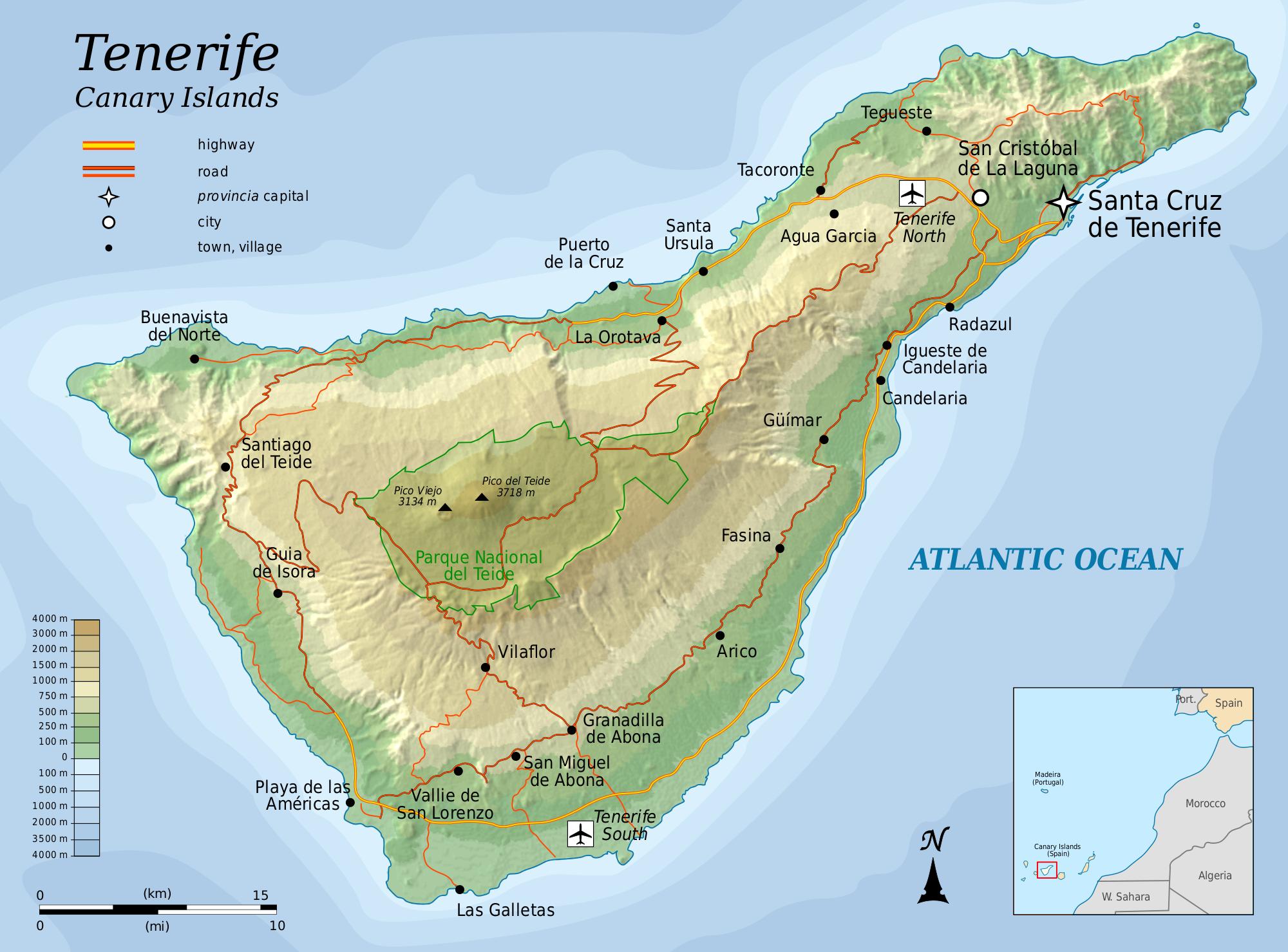 Mapa topográfico de la Isla de Tenerife 2010