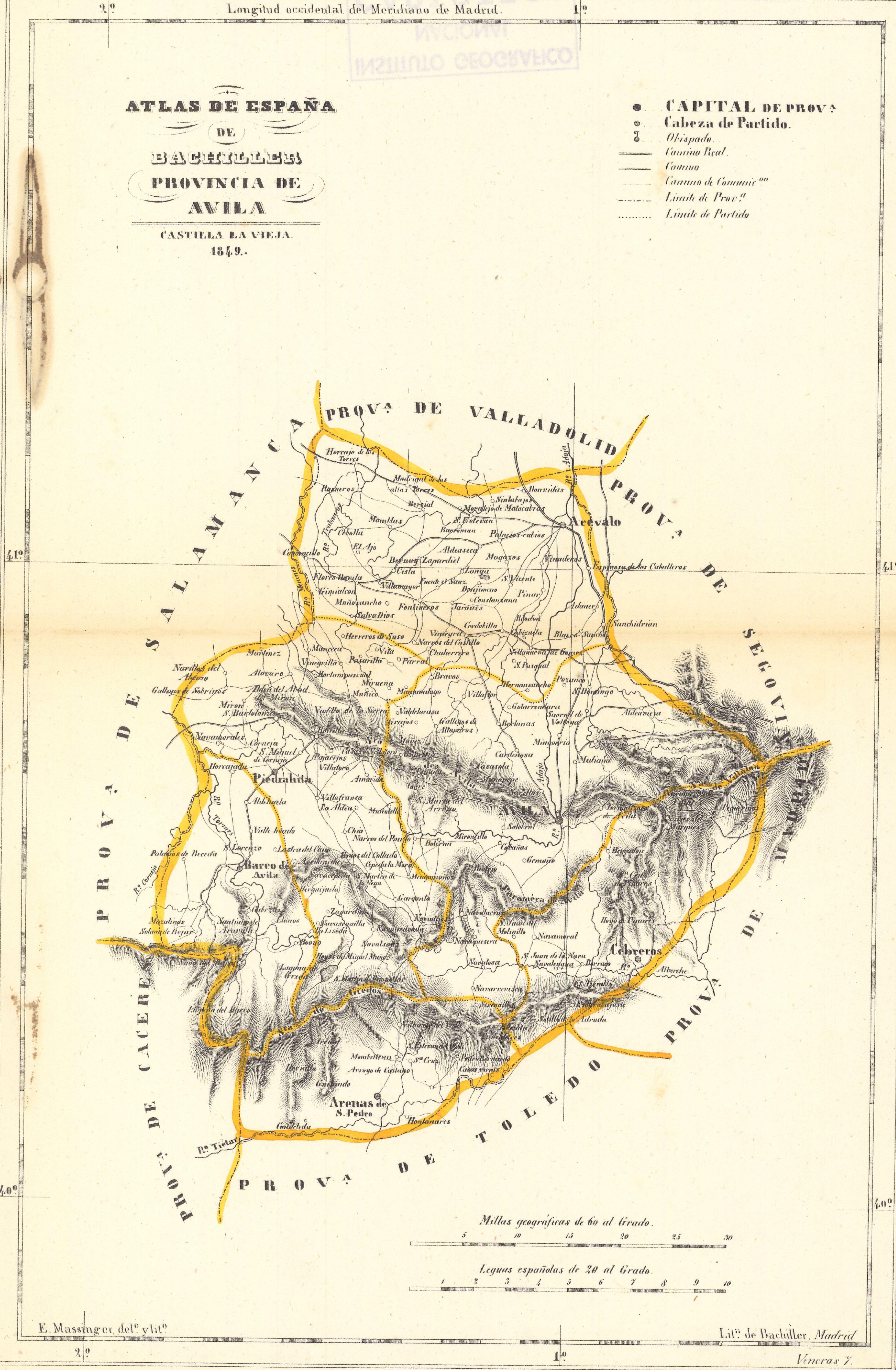 Mapa de la Provincia de Ávila 1849