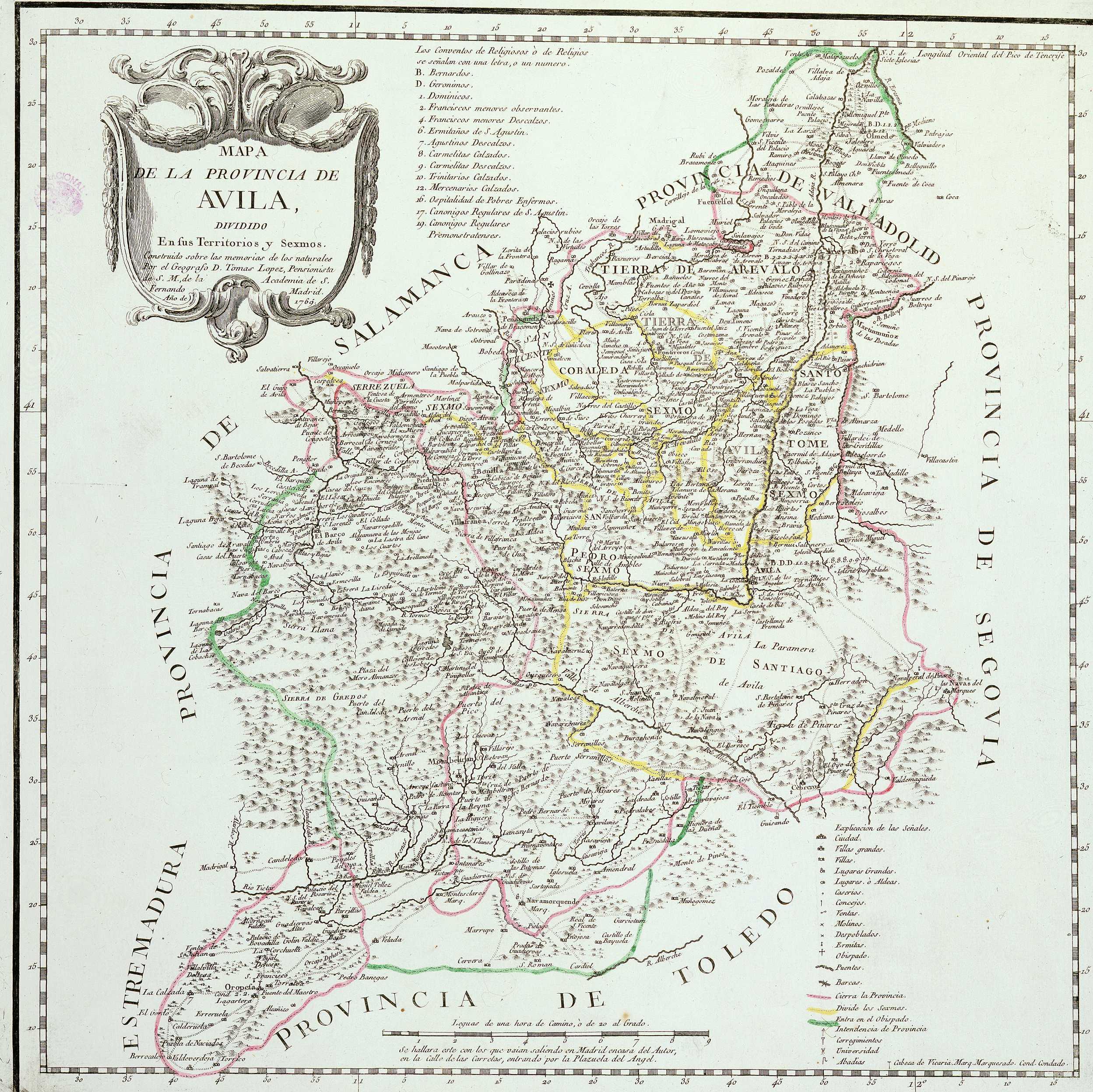 Mapa de la Provincia de Ávila 1769