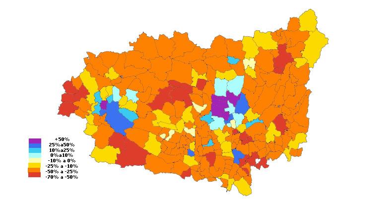 Población de los municipios de Provincia de León entre 1981-2009