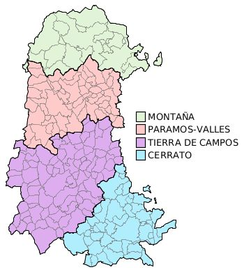Comarcas administrativas de la Provincia de Palencia 2010