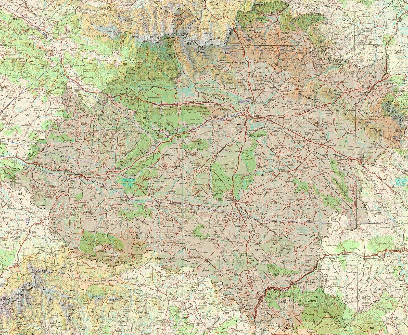 Mapa topográfico de la Provincia de Soria