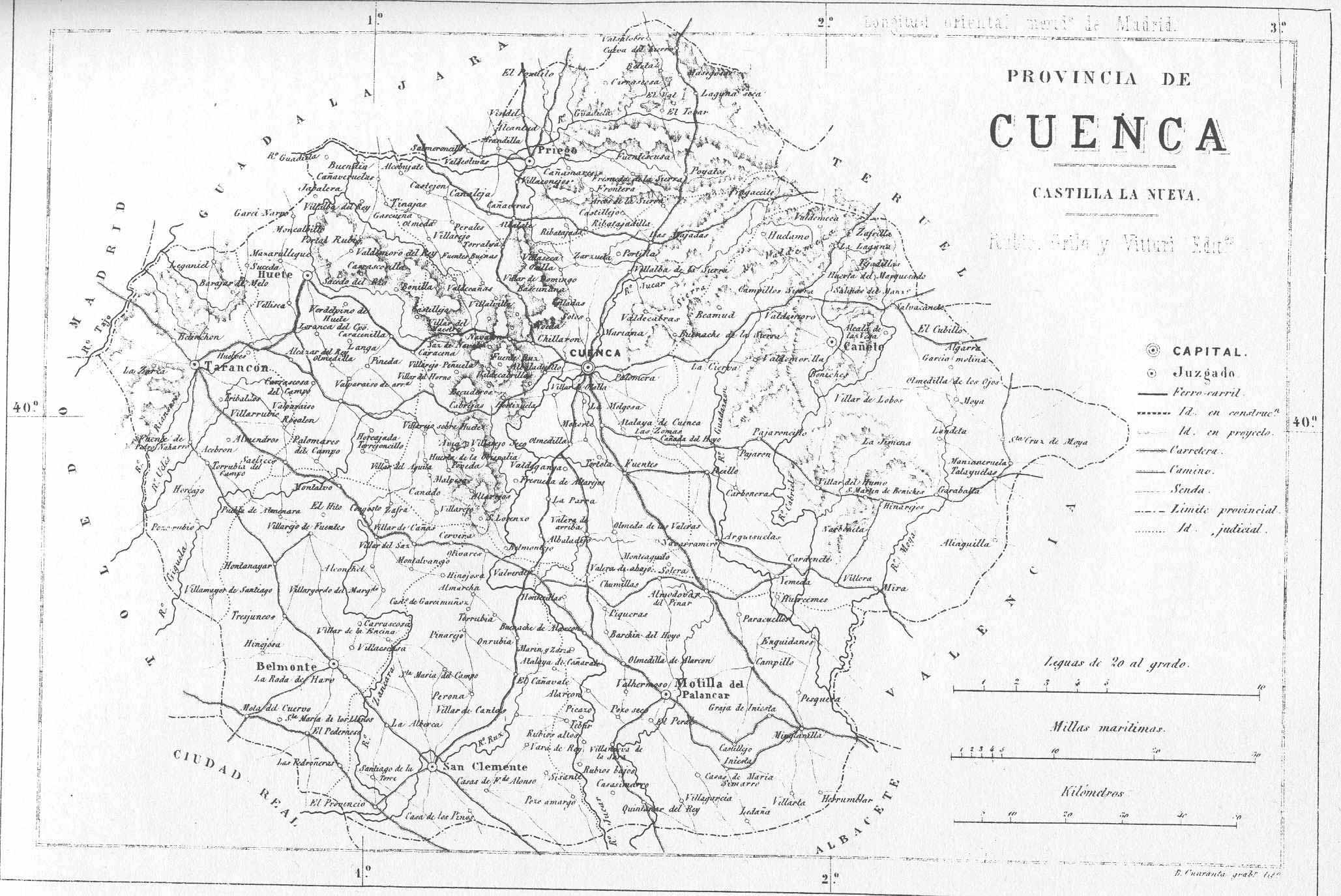 Mapa de la Provincia de Cuenca 1869