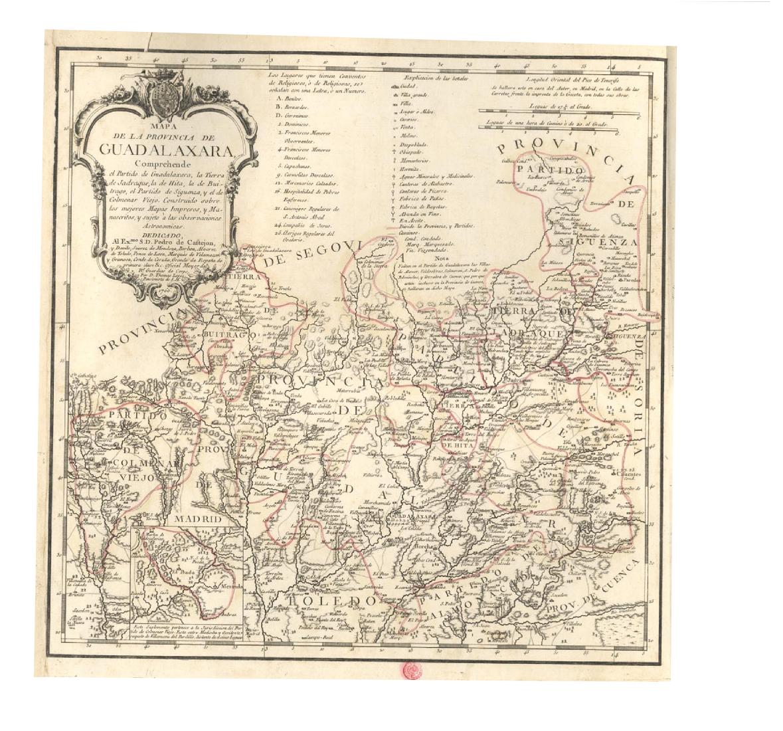 Mapa de la provincia de Guadalajara 1766