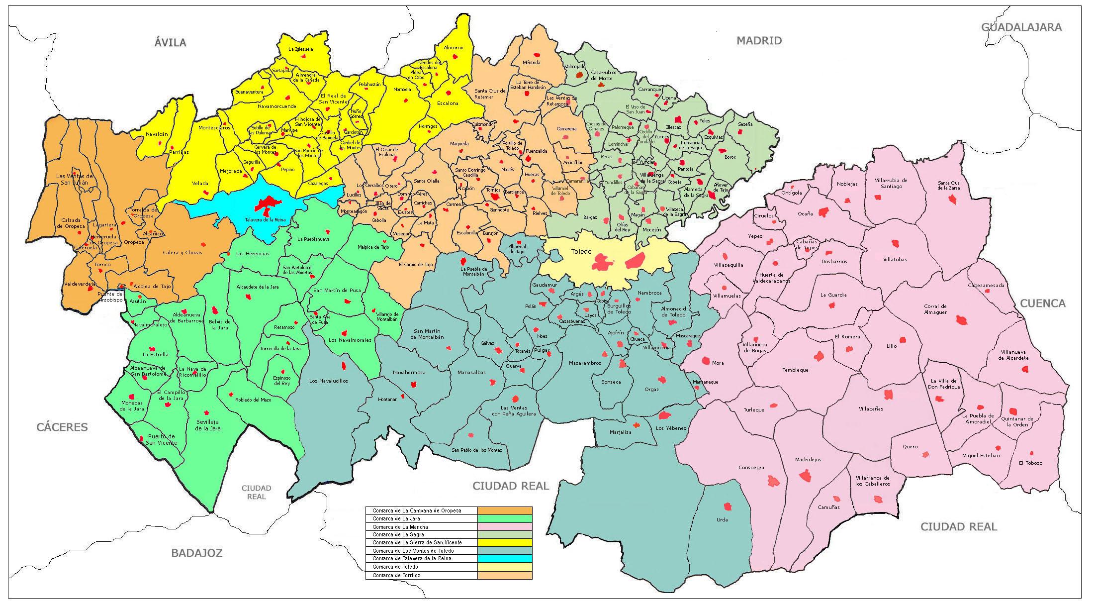 Comarcas de la Provincia de Toledo