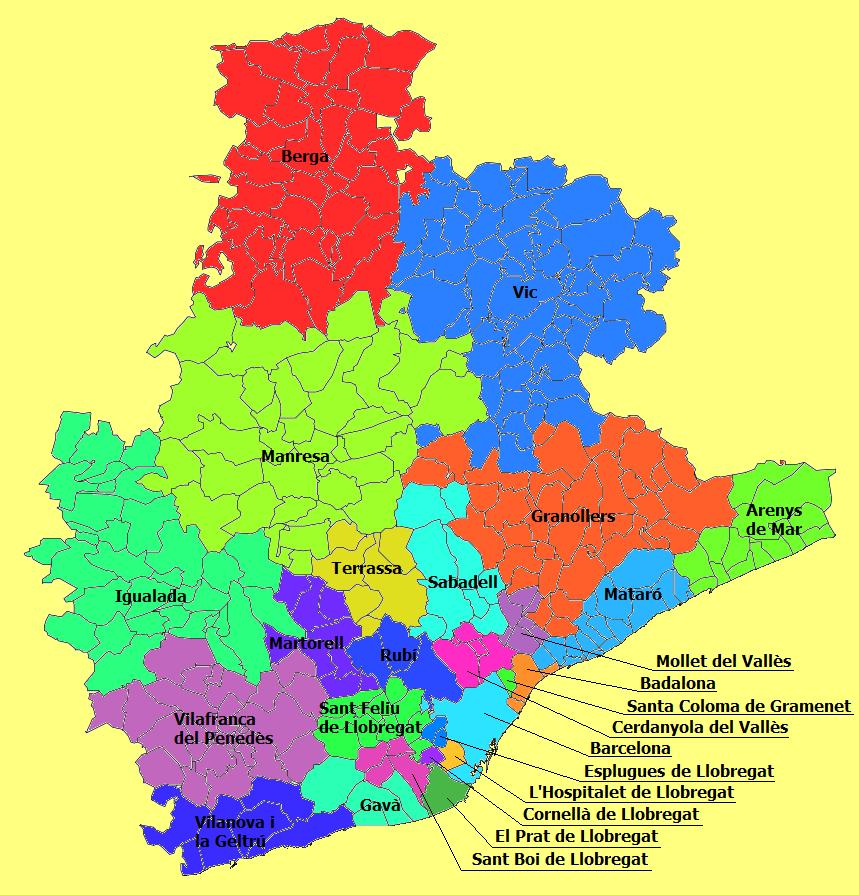 Partidos Judiciales de la Provincia de Barcelona 2010