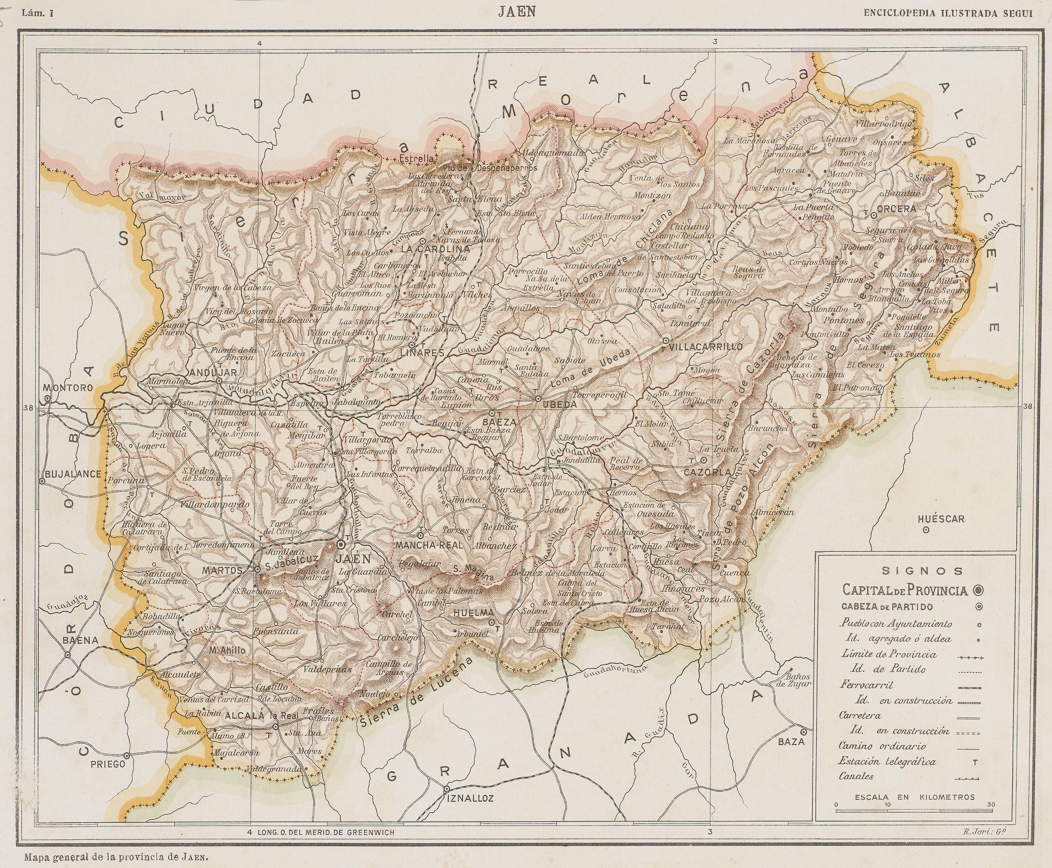 Mapa general de la Provincia de Jaén 1910