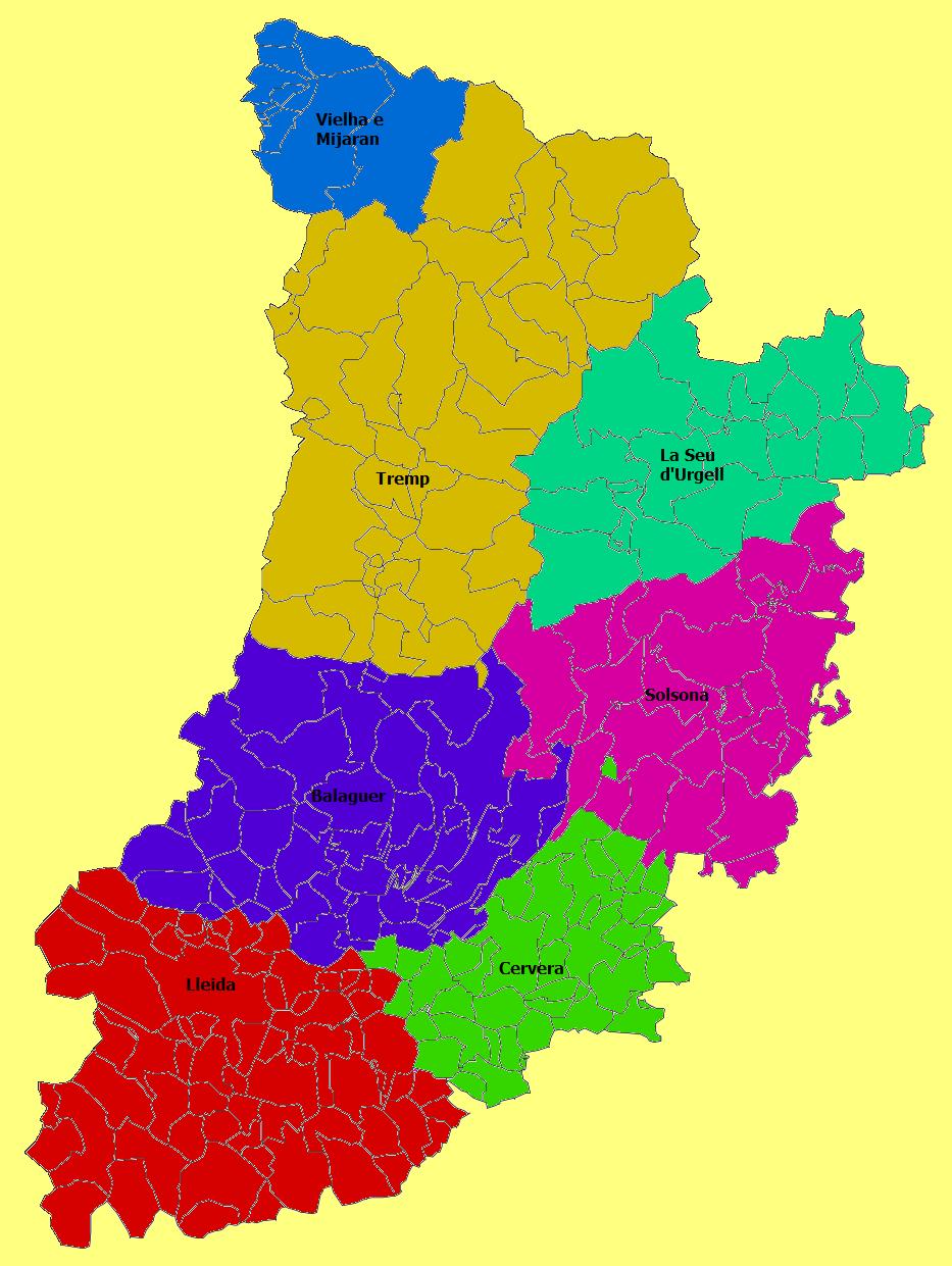 Partidos judiciales de la Provincia de Lérida 2010