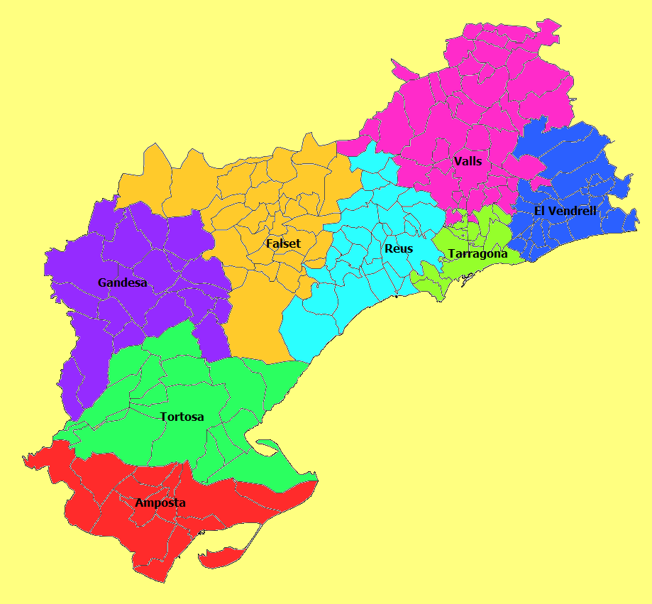 Judicial districts of the province of Tarragona 2010
