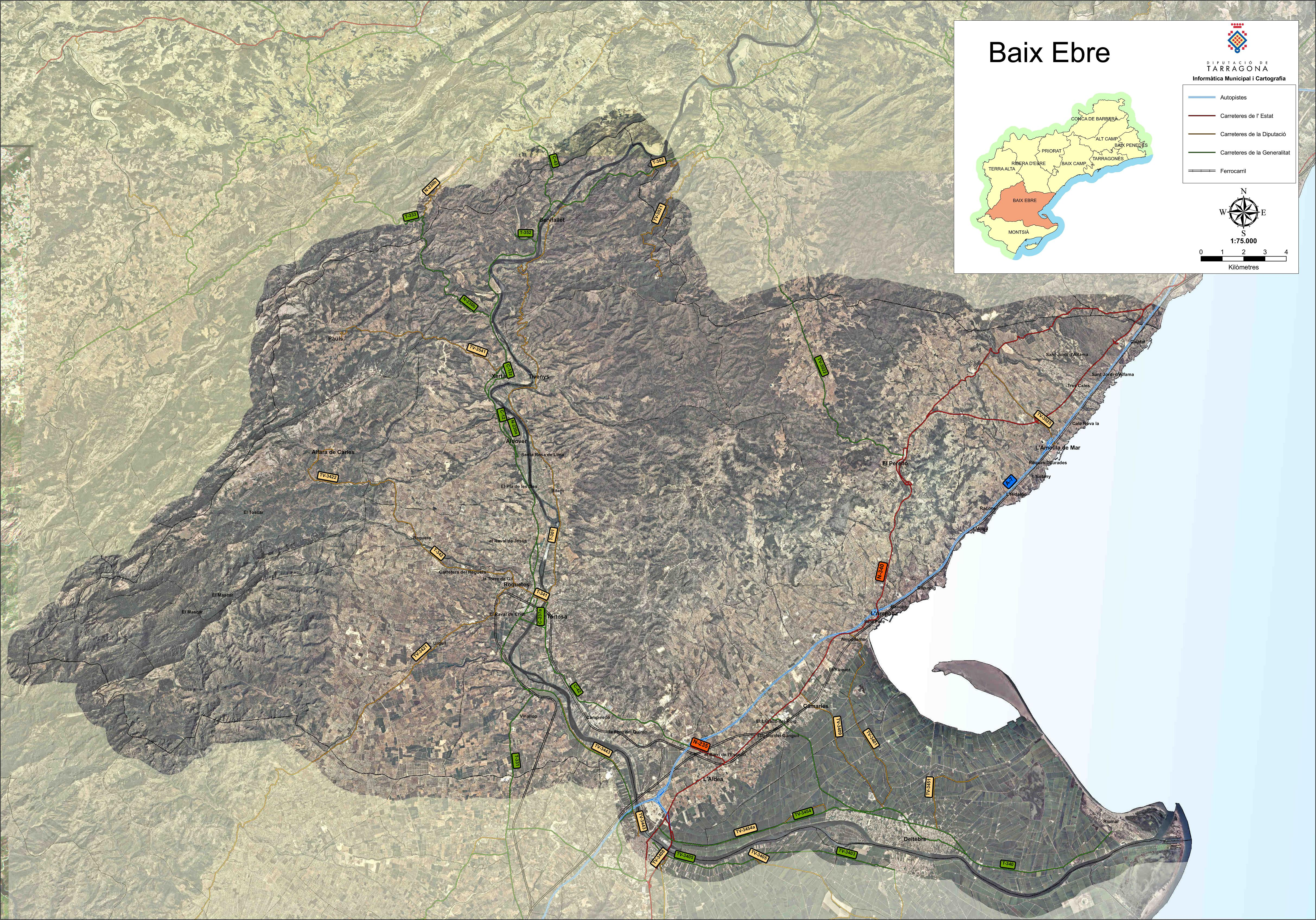 Satellite and road map of the comarca of Baix Ebre