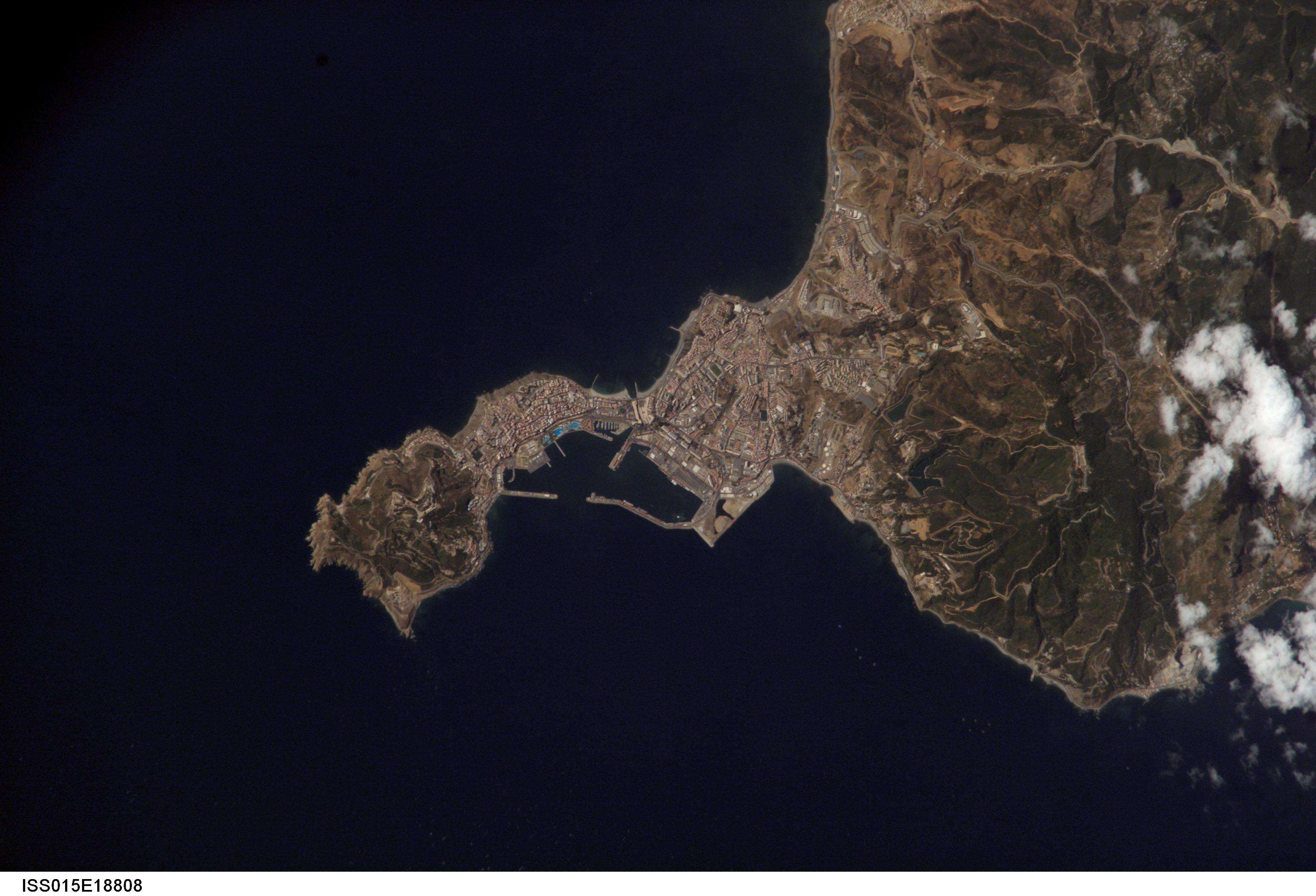 Photo, satellite image of Ceuta 2007