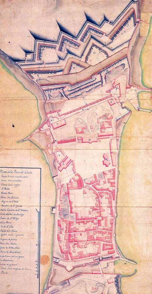 Plano de la plaza de Ceuta 1720