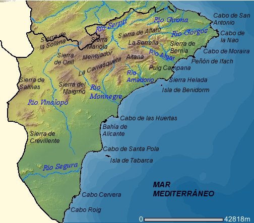 Physical map of the province of Alicante 2007