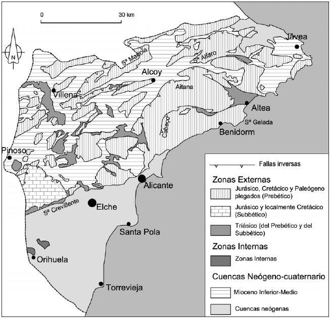 Geologic map of the Province of Alicante