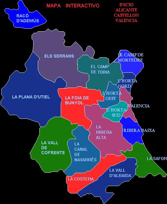 Comarcas de la Provincia de Valencia