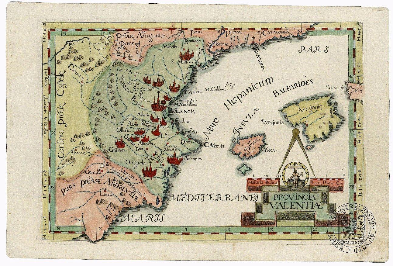 Mapa de la Provincia de Valencia 1712
