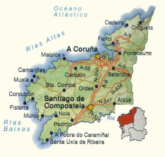 Mapa de carreteras de la Provincia de La Coruña