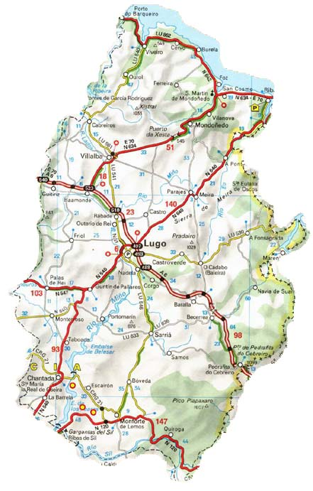 Mapa de carreteras de la Provincia de Lugo