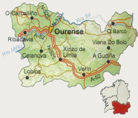 Mapa de carreteras de la Provincia de Orense