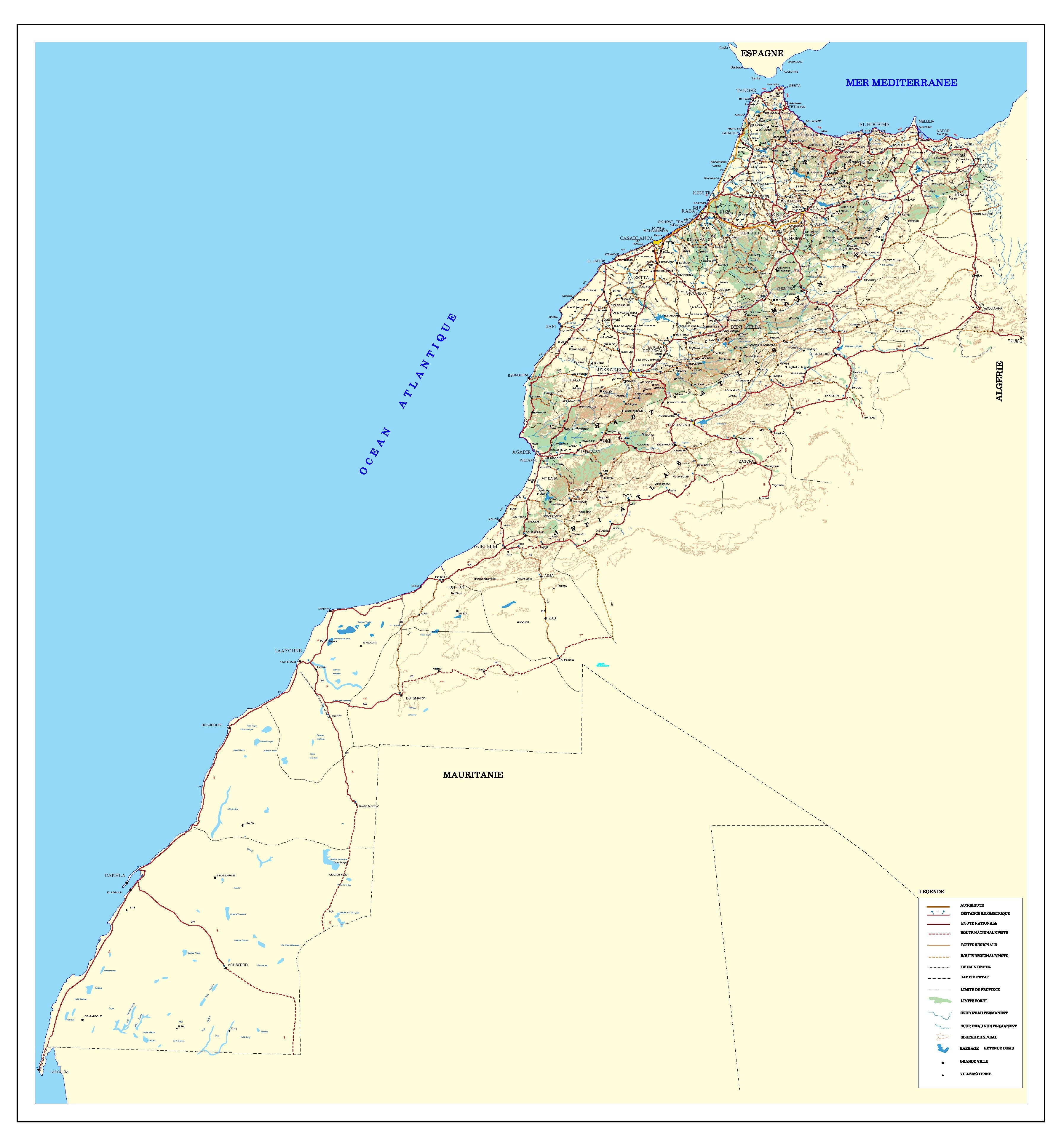 Mapa de carreteras de Marruecos