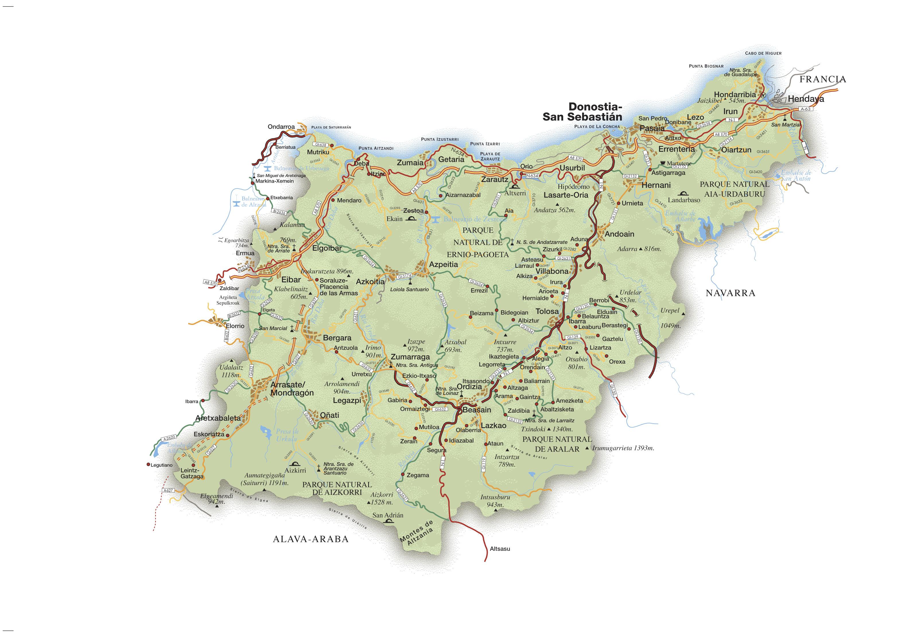 Gipuzkoa map