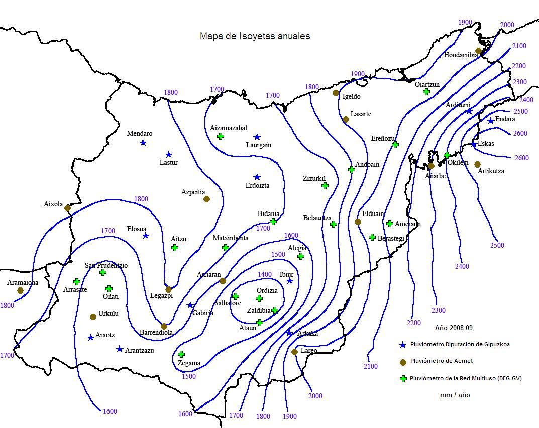 Precipitaciónes medias anual en Guipúzcoa 2008-9