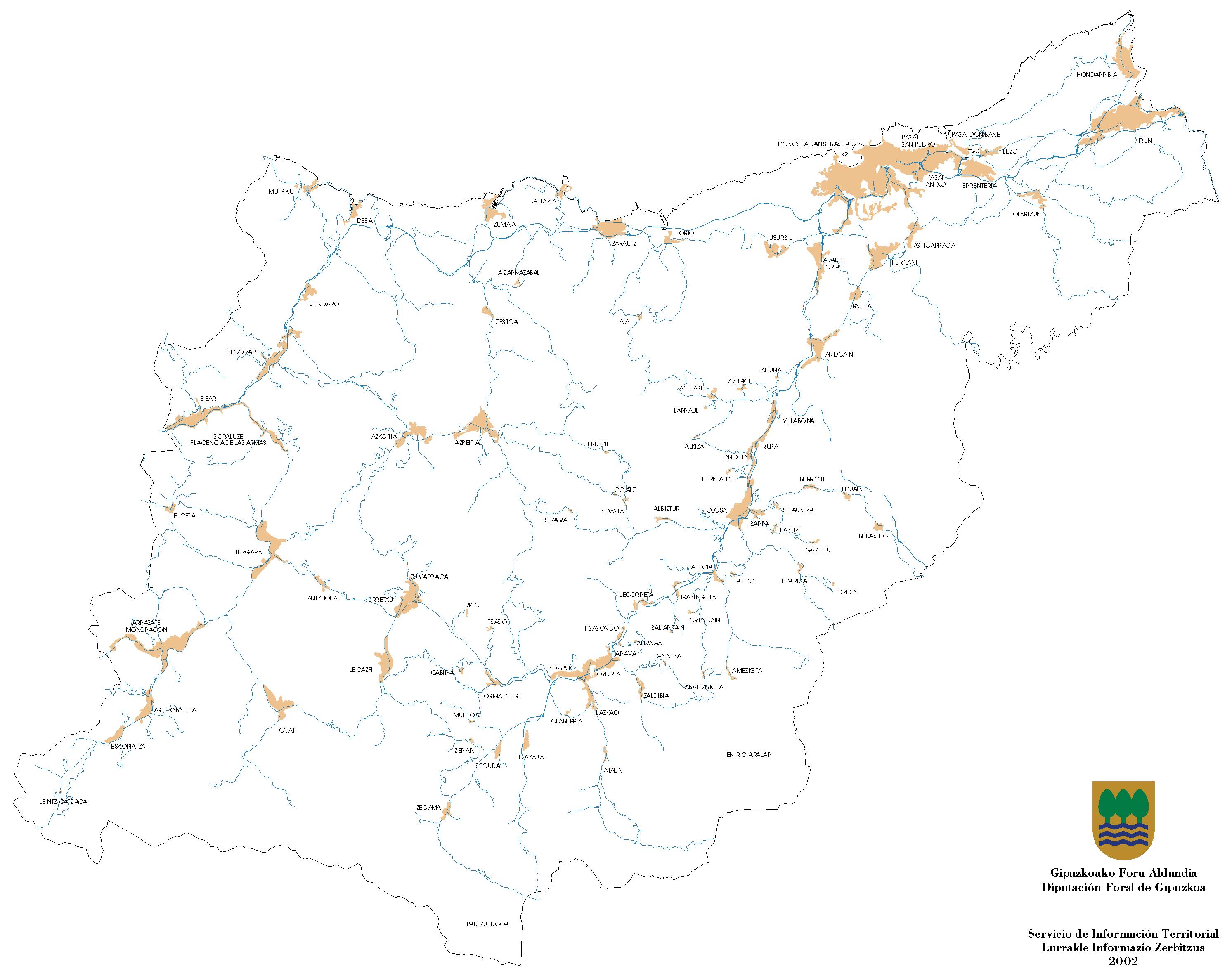 Urban areas of the Province of Gipuzkoa