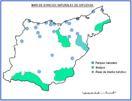 Mapa de los espacios naturales de Guipúzcoa