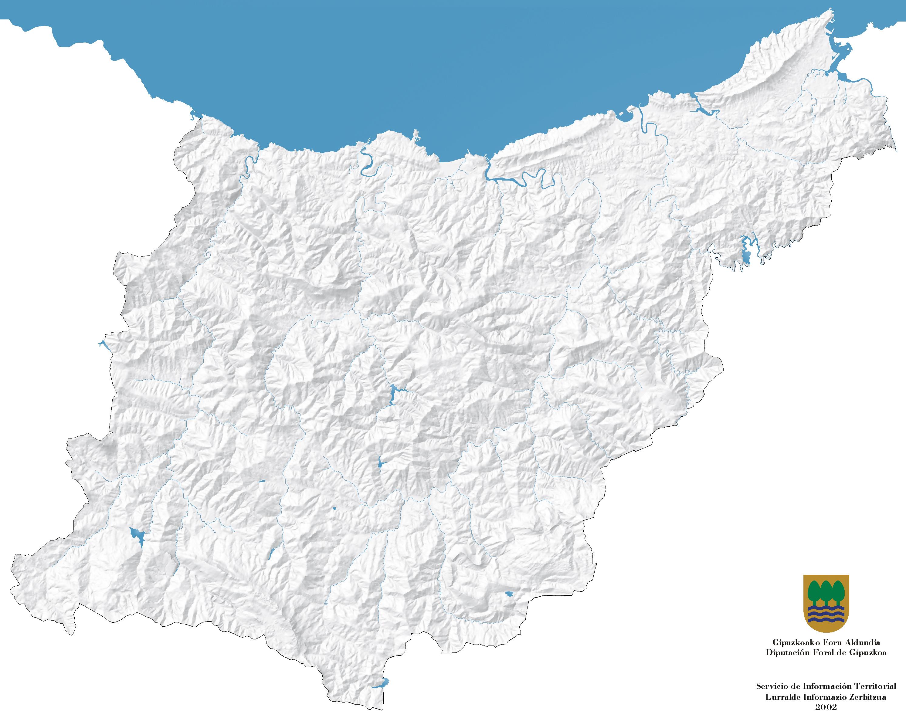 Relieve y red hidrográfica de Guipúzcoa 2002