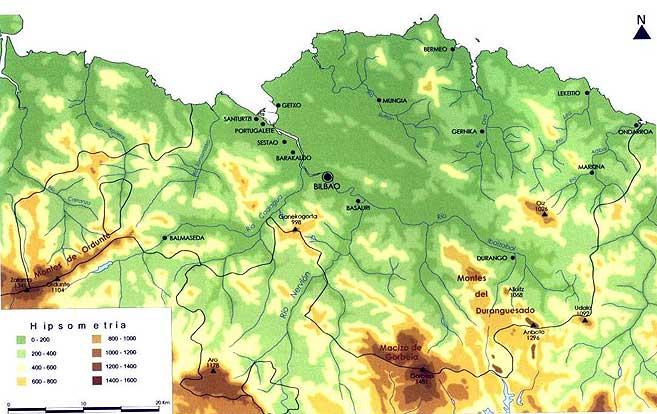 Mapa topográfico de Vizcaya