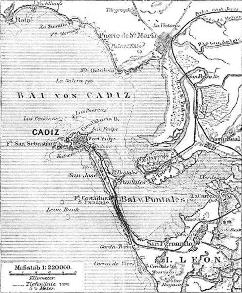 Mapa de la bahía de Cádiz en 1888