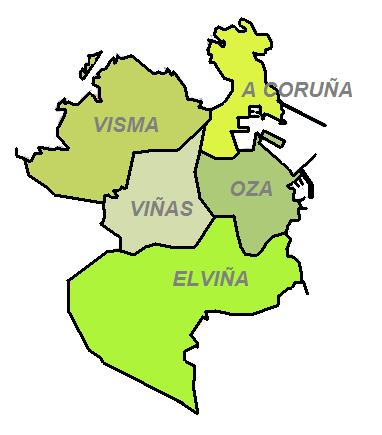 Las 4 parroquias del municipio y la ciudad de La Coruña