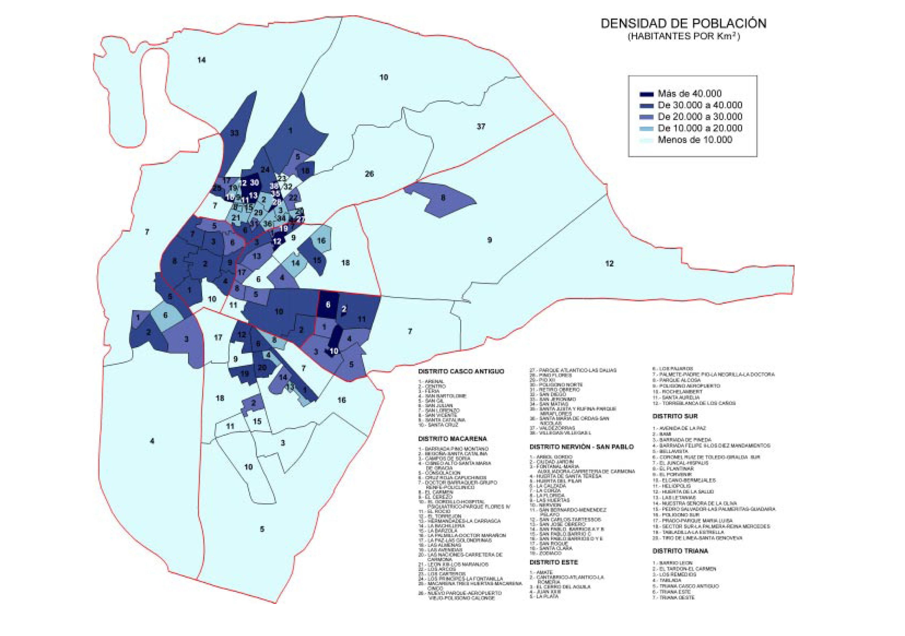Seville population density 2000