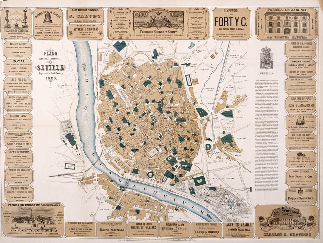 Plano industrial y comercial de Sevilla 1883