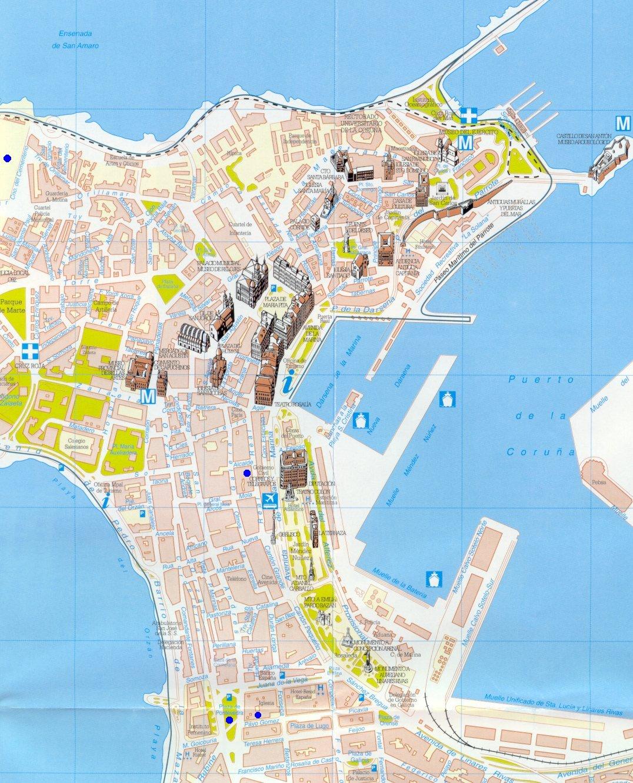A Coruña tourist map